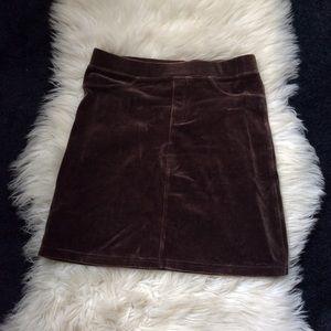 Brown velvet high waisted skirt